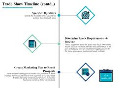 Trade Show Timeline Contd Specific Objectives Ppt PowerPoint Presentation Portfolio Ideas