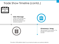 Trade Show Timeline Sales Message Ppt PowerPoint Presentation Slides Design Templates