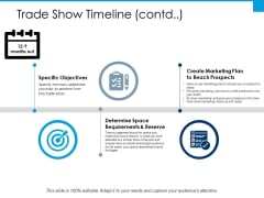 Trade Show Timeline Specific Objectives Ppt PowerPoint Presentation Professional Show