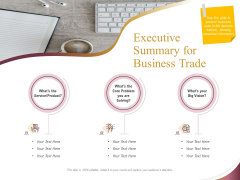 Trading Company Executive Summary For Business Trade Ppt Outline Rules PDF