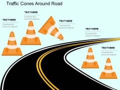 Traffic Cones Around Road Powerpoint Templates