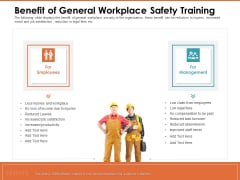 Train Employees Health Safety Benefit Of General Workplace Safety Training Graphics PDF