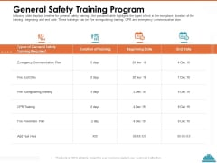 Train Employees Health Safety General Safety Training Program Ppt Styles Show PDF