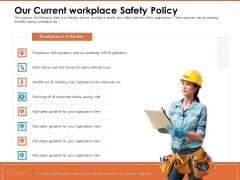 Train Employees Health Safety Our Current Workplace Safety Policy Ppt Styles Show PDF