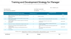 Training And Development Strategy For Manager Ppt File Microsoft PDF