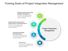 Training Goals Of Project Integration Management Ppt PowerPoint Presentation Model Graphics Example PDF