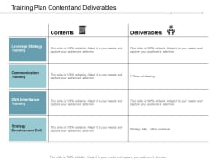 Training Plan Content And Deliverables Ppt Powerpoint Presentation Model Show