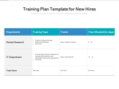 Training Plan Template For New Hires Ppt PowerPoint Presentation Infographic Template Icons