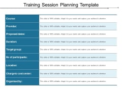 Training Session Planning Template Ppt PowerPoint Presentation Pictures Design Inspiration