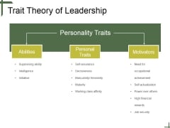 Trait Theory Of Leadership Ppt PowerPoint Presentation Files