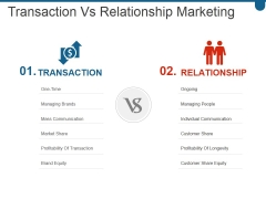 Transaction Vs Relationship Marketing Ppt PowerPoint Presentation Gallery Templates