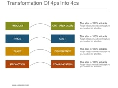 Transformation Of 4ps Into 4cs Powerpoint Slide Deck Samples