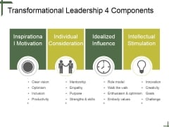 Transformational Leadership 4 Components Ppt PowerPoint Presentation Infographics