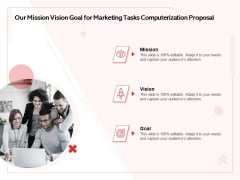 Transforming Marketing Services Through Automation Our Mission Vision Goal For Marketing Tasks Computerization Proposal Ideas PDF