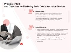 Transforming Marketing Services Through Automation Project Context And Objectives For Marketing Tasks Computerization Services Rules PDF