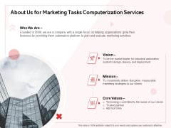 Transforming Marketing Services Through Automation Proposal About Us For Marketing Tasks Computerization Services Ideas PDF