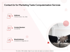 Transforming Marketing Services Through Automation Proposal Contact Us For Marketing Tasks Computerization Services Themes PDF
