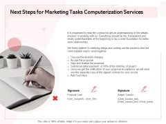 Transforming Marketing Services Through Automation Proposal Next Steps For Marketing Tasks Computerization Services Portrait PDF