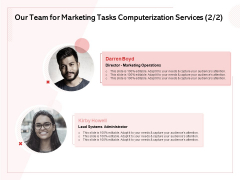 Transforming Marketing Services Through Automation Proposal Our Team For Marketing Tasks Computerization Services Themes PDF