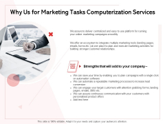 Transforming Marketing Services Through Automation Proposal Why Us For Marketing Tasks Computerization Services Summary PDF