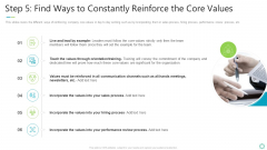 Transforming Organizational Processes And Outcomes Step 5 Find Ways To Constantly Reinforce The Core Values Topics PDF