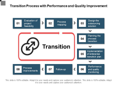 Transition Process With Performance And Quality Improvement Ppt PowerPoint Presentation Gallery Graphics Design PDF