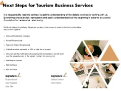 Travel And Leisure Commerce Proposal Next Steps For Tourism Business Services Ppt Icon Graphics PDF