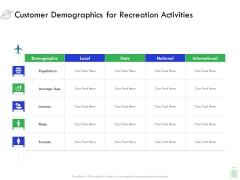 Travel And Leisure Industry Analysis Customer Demographics For Recreation Activities Infographics PDF