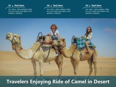 Travelers Enjoying Ride Of Camel In Desert Ppt PowerPoint Presentation File Outline PDF