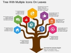 Tree With Multiple Icons On Leaves Powerpoint Template