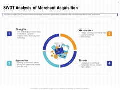 Trends And Emerging Areas In Merchant Acquiring Industry SWOT Analysis Of Merchant Acquisition Slides PDF