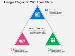 Triangle Infographic With Three Steps Powerpoint Templates