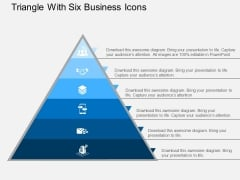 Triangle With Six Business Icons Powerpoint Templates