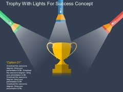 Trophy With Lights For Success Concept Powerpoint Template