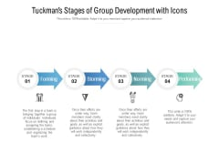 Tuckmans Stages Of Group Development With Icons Ppt PowerPoint Presentation Infographics Shapes