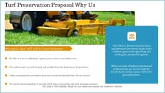 Turf Preservation Proposal Why Us Ppt Ideas Graphic Tips PDF