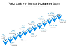 Twelve Goals With Business Development Stages Ppt PowerPoint Presentation File Deck PDF