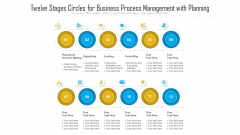 Twelve Stages Circles For Business Process Management With Planning Ppt PowerPoint Presentation File Objects PDF