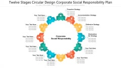 Twelve Stages Circular Design Corporate Social Responsibility Plan Ppt PowerPoint Presentation File Infographics PDF
