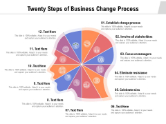 Twenty Steps Of Business Change Process Ppt PowerPoint Presentation Ideas Pictures PDF