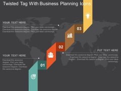 Twisted Tag With Business Planning Icons Powerpoint Template