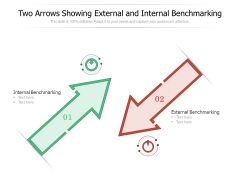 Two Arrows Showing External And Internal Benchmarking Ppt PowerPoint Presentation Inspiration Guide PDF