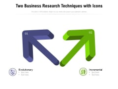 Two Business Research Techniques With Icons Ppt PowerPoint Presentation Show Examples PDF