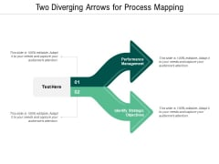 Two Diverging Arrows For Process Mapping Ppt PowerPoint Presentation Summary Icons