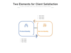 Two Elements For Client Satisfaction Ppt PowerPoint Presentation Gallery Pictures PDF