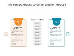 Two Factors Analysis Layout For Different Products Ppt PowerPoint Presentation Portfolio Graphics Design PDF
