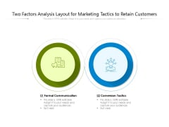 Two Factors Analysis Layout For Marketing Tactics To Retain Customers Ppt PowerPoint Presentation Gallery Layout Ideas PDF