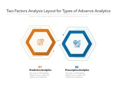Two Factors Analysis Layout For Types Of Advance Analytics Ppt PowerPoint Presentation Summary Master Slide PDF