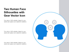 Two Human Face Silhouettes With Gear Vector Icon Ppt PowerPoint Presentation Infographics Sample PDF