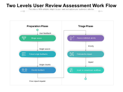 Two Levels User Review Assessment Work Flow Ppt PowerPoint Presentation Gallery Gridlines PDF